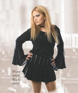 Gothic Pleated Mini Skirt. Black Cotton Mini Skirt. By Bares/Fashion X. Germany~90D-4957~